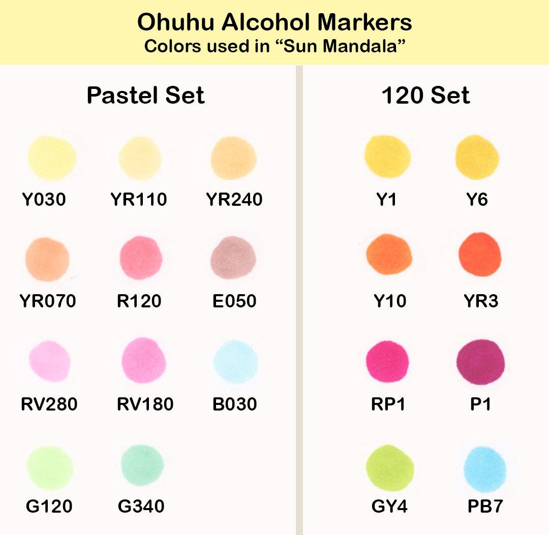 Ohuhu酒精标记:用于在Thaneeya McArdle的《太阳曼荼罗》中着色的颜色必威西蒙体育 欧盟体育