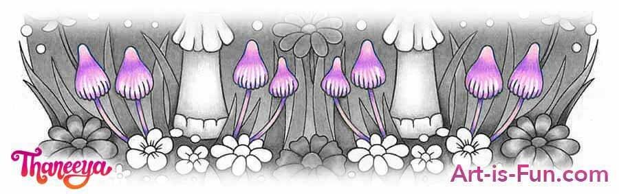 小蘑菇彩色铅笔着色教程betway必威官网app