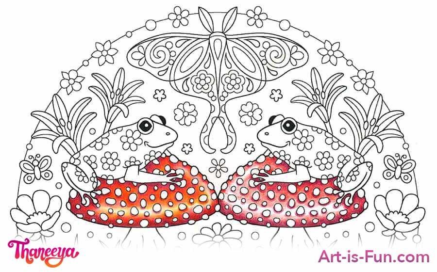 红色蘑菇盖子色的铅笔教程