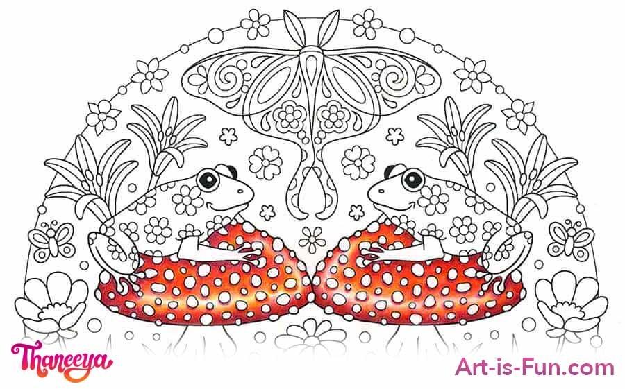 红色蘑菇彩色铅笔教程