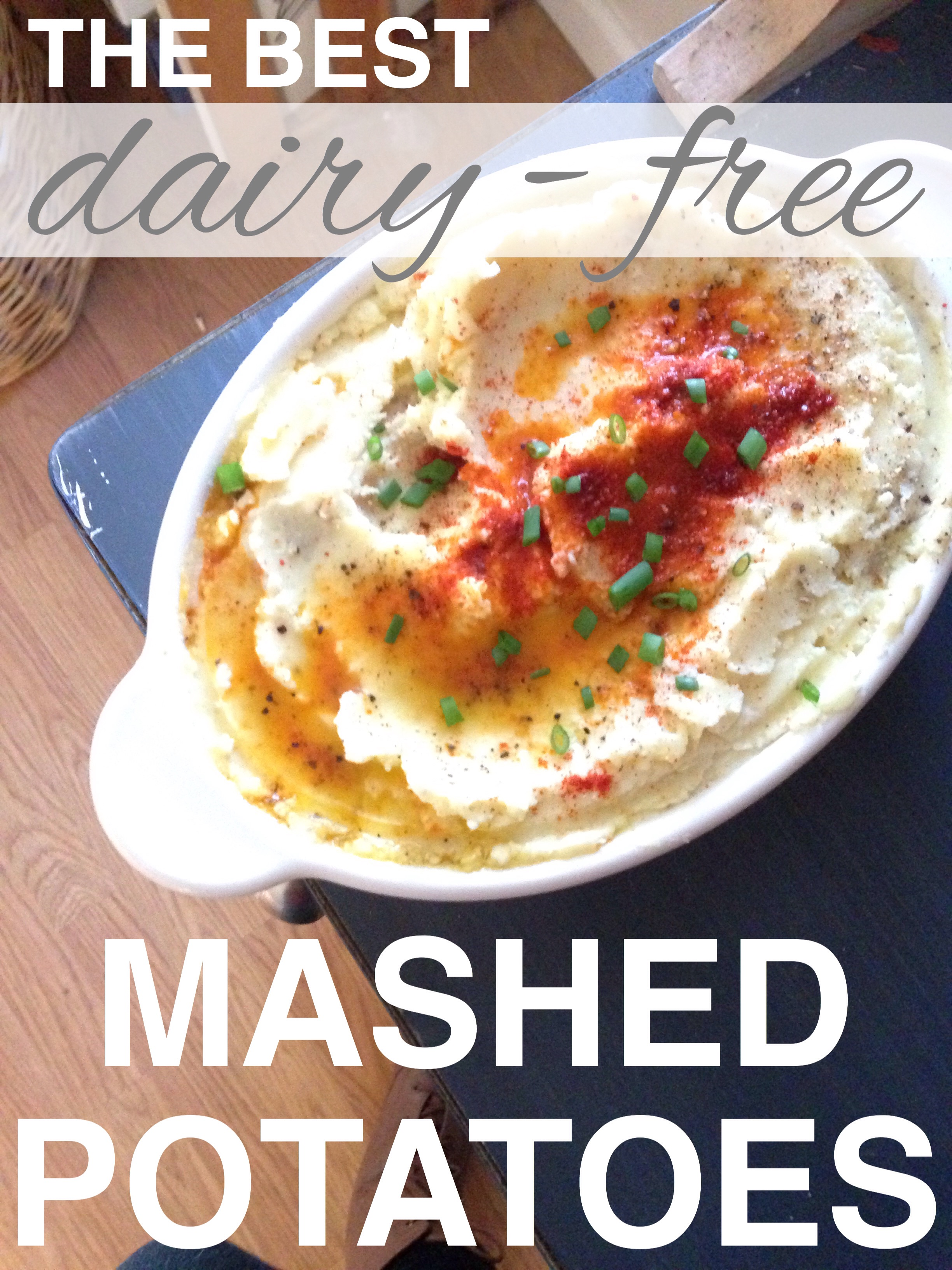 Dairy free, vegan mashed potatoes and they're delicious! Easy homemade dairy free sour cream with www.goingzerowaste.com