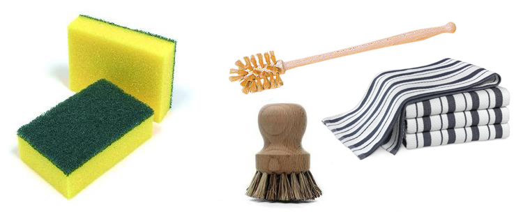 Zero Waste Swap 7: Ditch sponges. Look for compostable products like bamboo brushes or natural materials like cotton or hemp. www.goingzerowaste.com