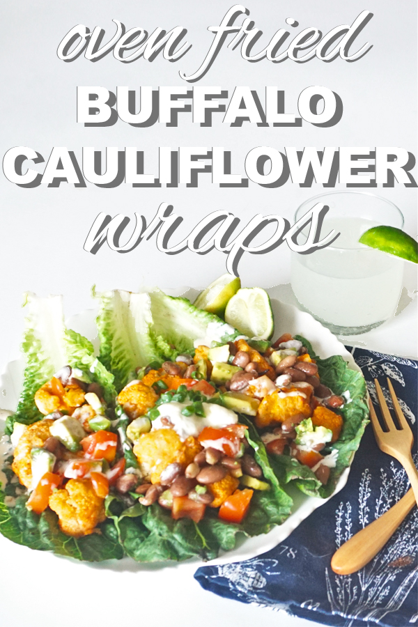 Oven fried buffalo cauliflower lettuce wraps! A filling dinner that won't weigh you down. A perfect dinner for warm weather from www.goingzerowaste.com