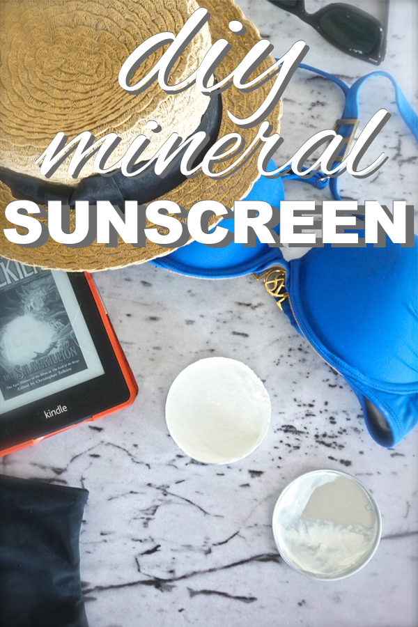 A natural 30 SPF sunscreen. Learn how to make a zero waste mineral sunscreen with www.goingzerowaste.com