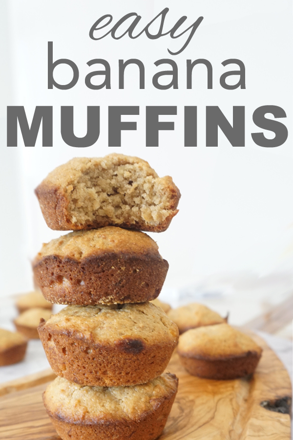Learn how to make easy banana muffins! Perfect for back to school. You can even double the batch and freeze them for hectic mornings. Get the recipe at www.goingzerowaste.com