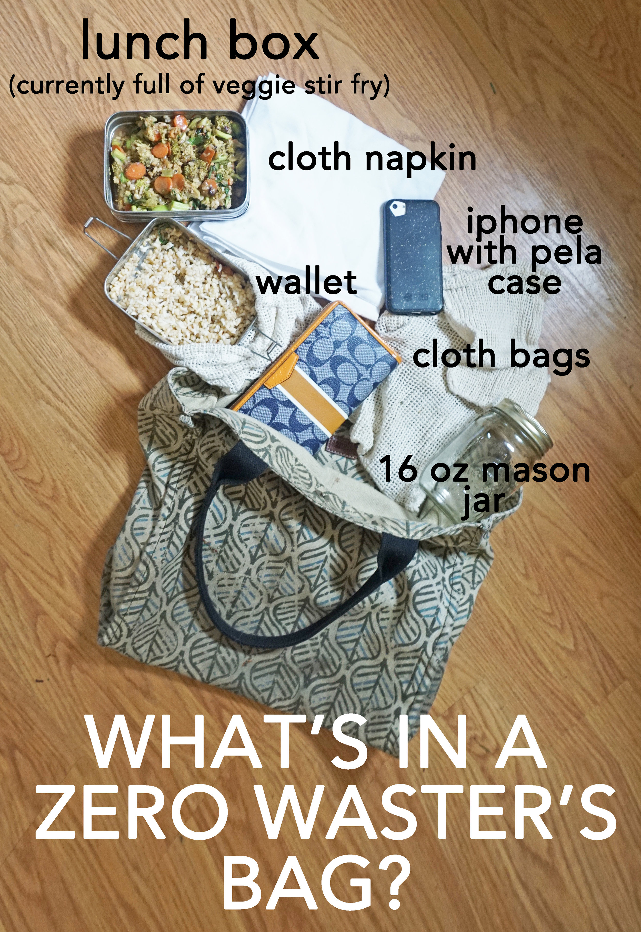 What's in my bag? What does a zero waster carry with them on an almost daily basis to avoid trash and waste while out? Find out at www.goingzerowaste.com