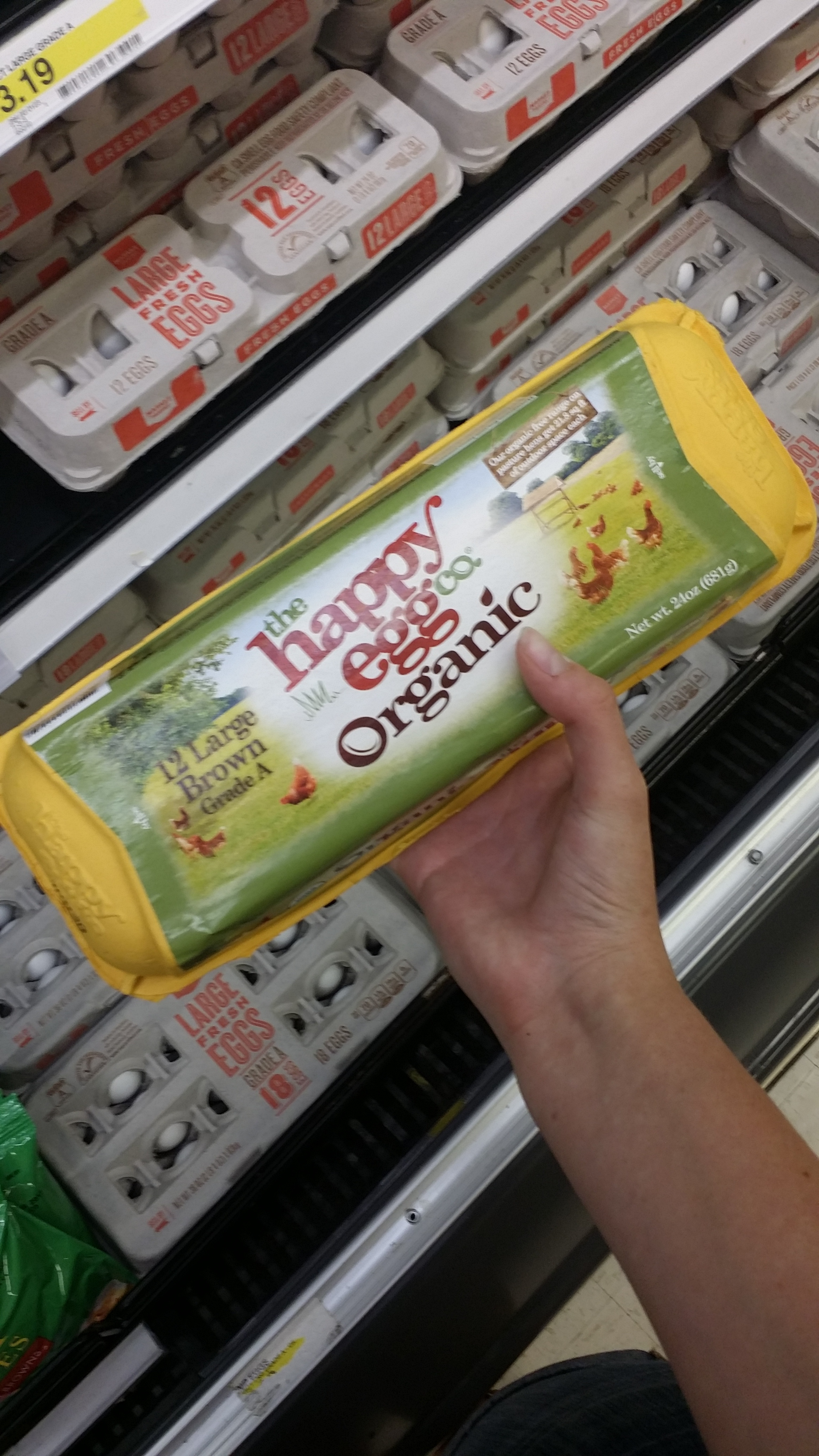 Certified humane eggs that come in a carton that can be composted. You will have to remove the sticker which is trash.