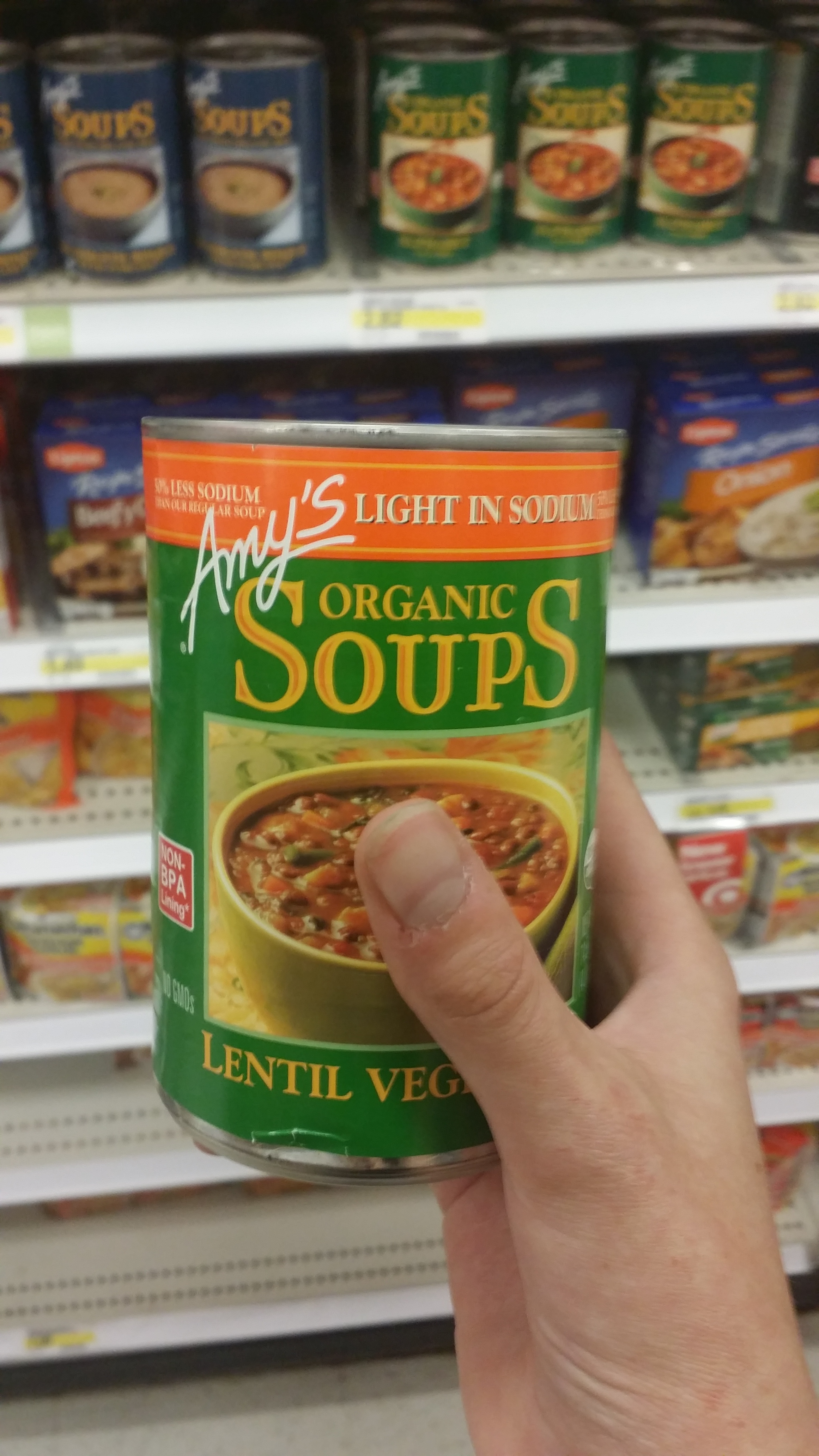 Justin always buys me this soup when I'm sick. It's great to know that Target carries it and a large selection of Amy's.
