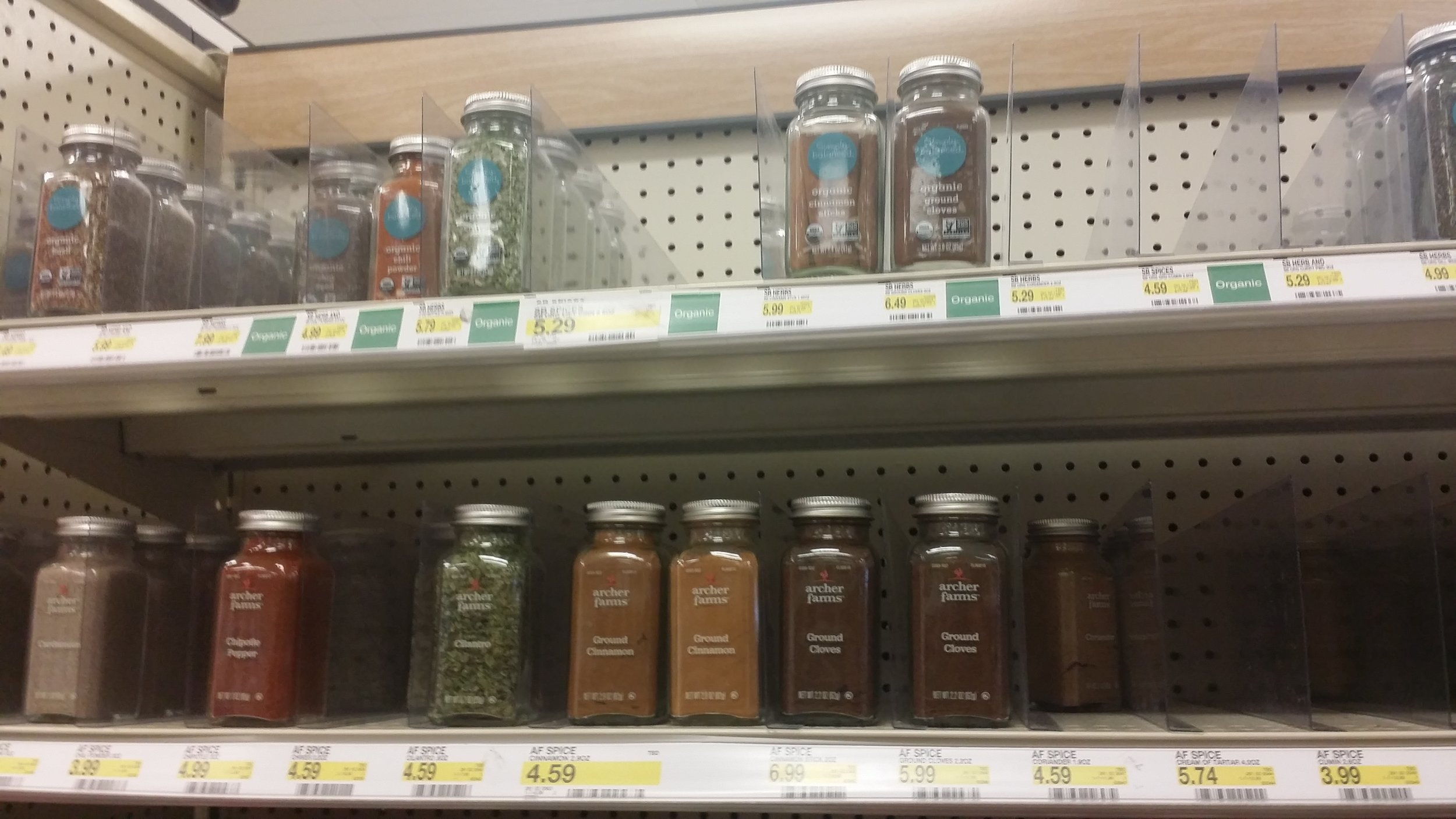 Organic spices that come in glass jars.