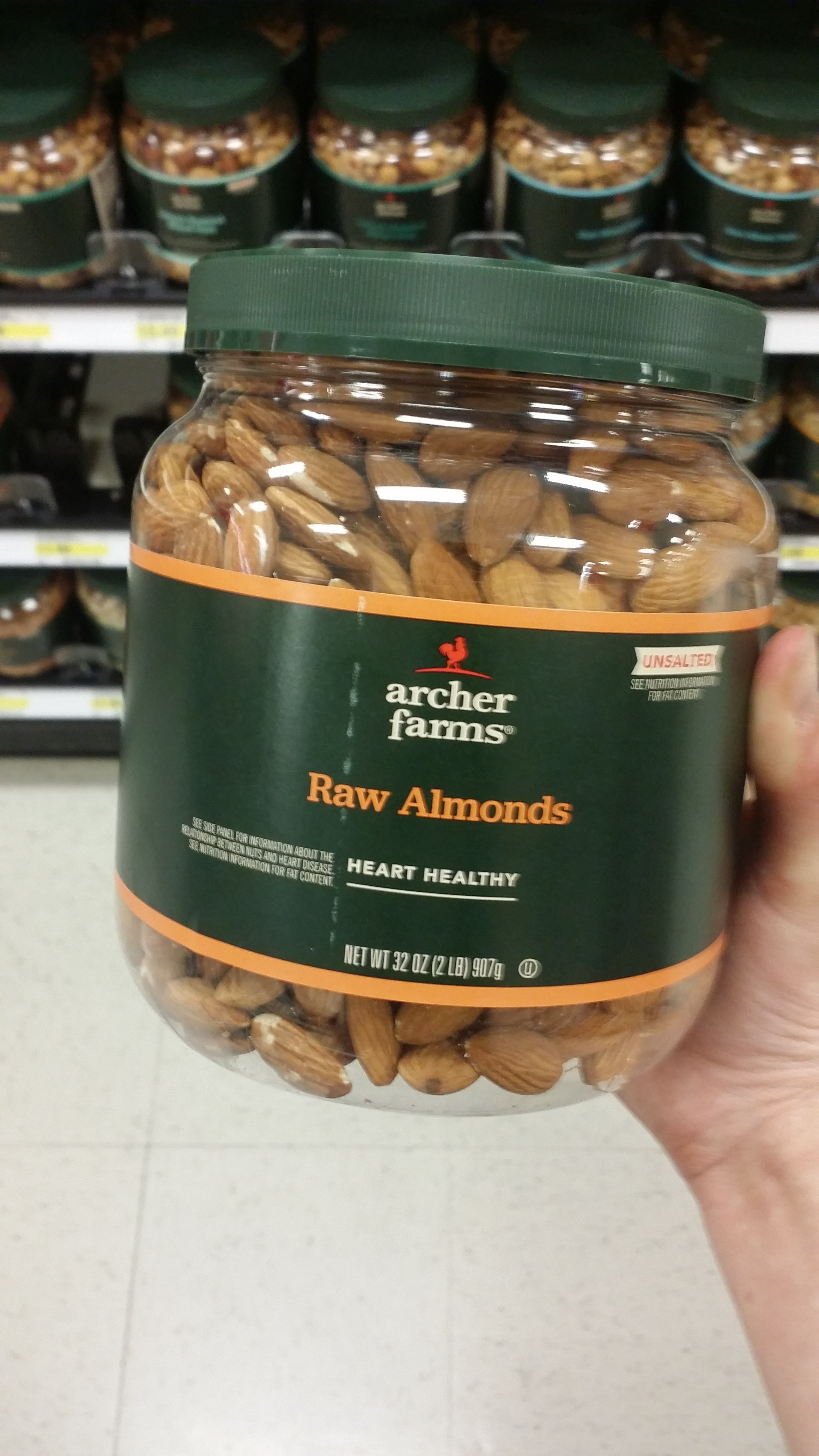 The giant jug of almonds I found. They come in plastic number one, but it would be a great jar to reuse especially in the jar for holding all sorts of nuts and bolts.
