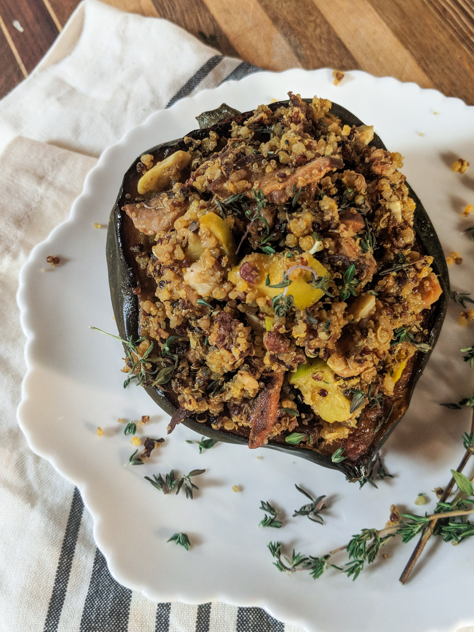 Two showstopping vegetarian mains for the holidays from www.goingzerowaste.com #vegetarian #holidays #thanksgiving #christmas #acornsquash