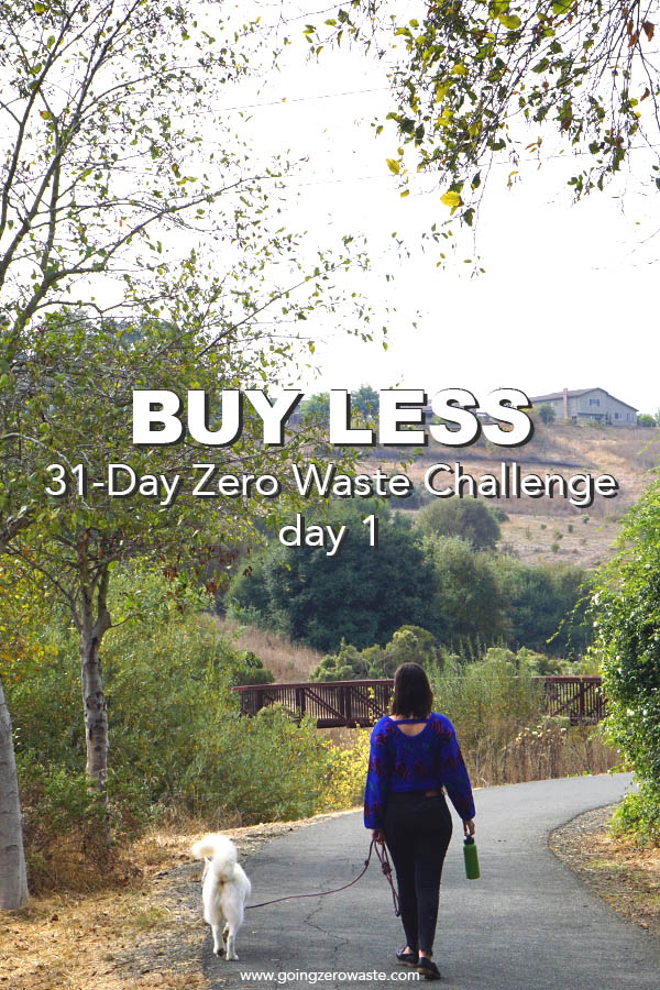 Buy Less day one of the 31-day zero waste challenge from www.goingzerowaste.com #zerowaste #zerowastechallenge #ecofriendly #newyearsresolutions