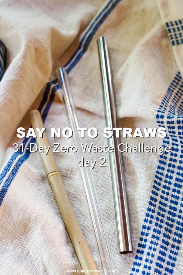 say no to straws day two of the 31-day zero waste challenge from www.goingzerowaste.com #zerowaste #zerowastechallenge #ecofriendly #newyearsresolutions