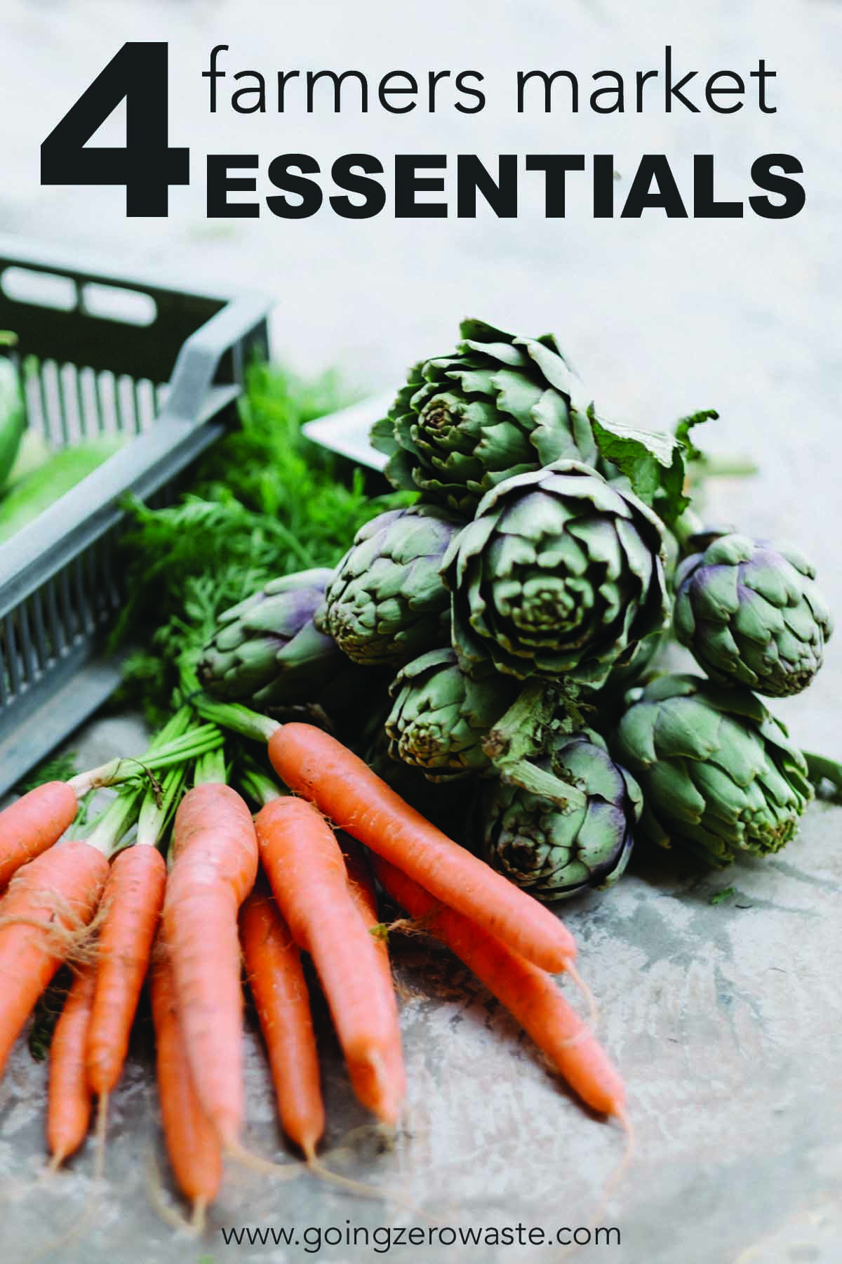 Four farmers market essentials from www.goingzerowaste.com #farmersmarket #zerowaste #groceries