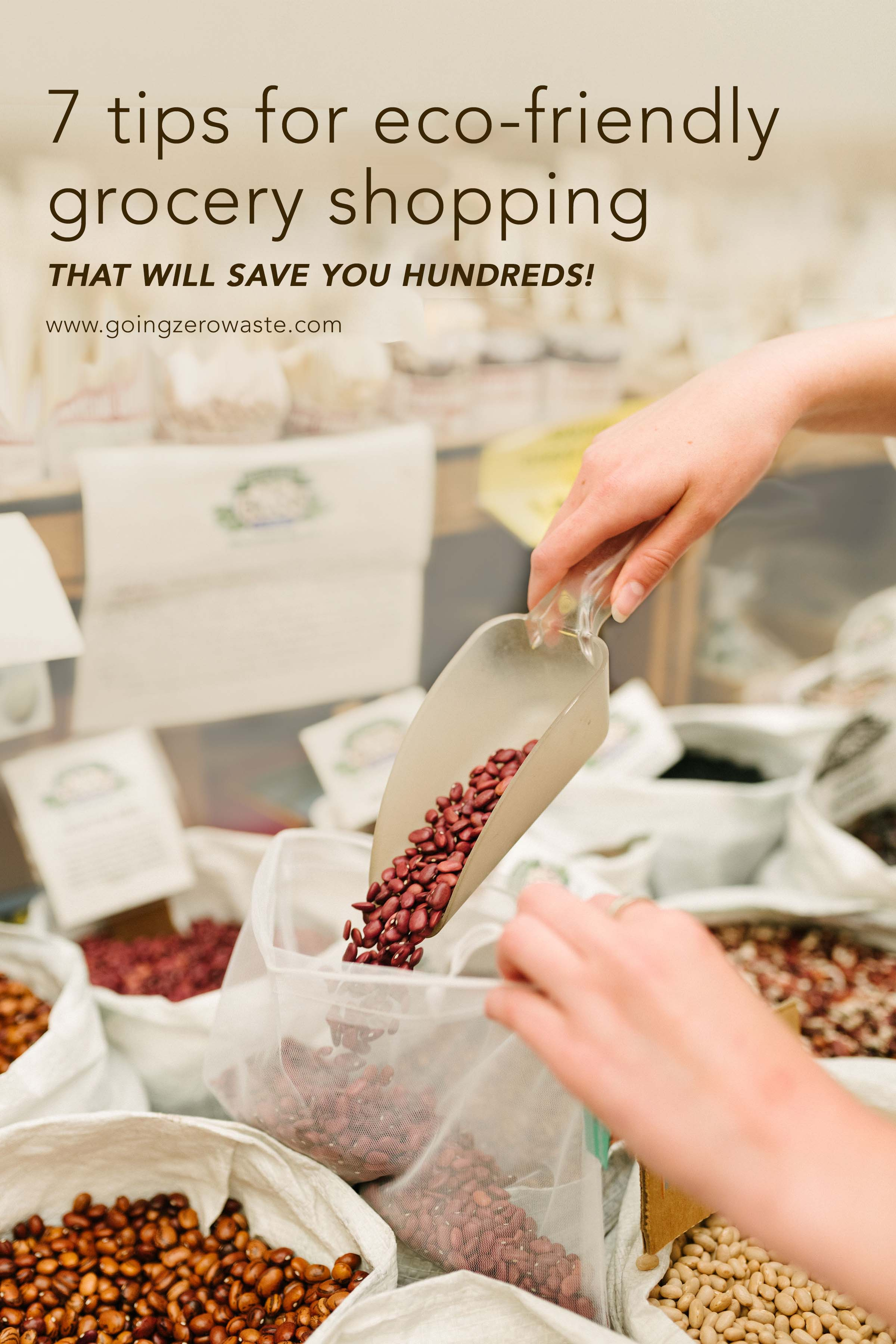 7 tips for eco-friendly grocery shopping that will save you hundreds! from www.goingzerowaste.com #zerowaste #ecofriendly #groceryshopping #savemoney #withoutcoupons #saveongroceries #howtosaveongroceries