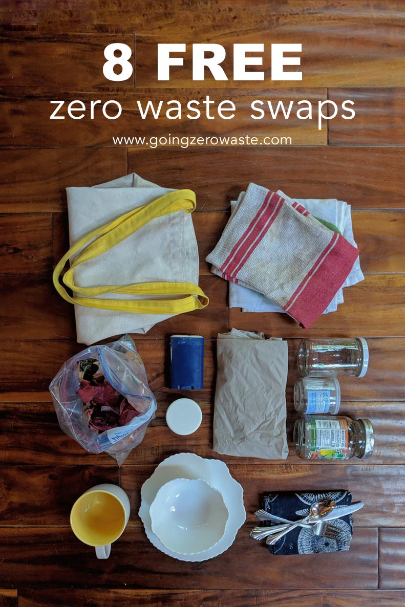 8 Free Zero Waste Swaps from www.goingzerowaste.com #zerowaste #ecofriendly #gogreen #sustainableliving #frugal #savemoney #reducewaste #simpleliving