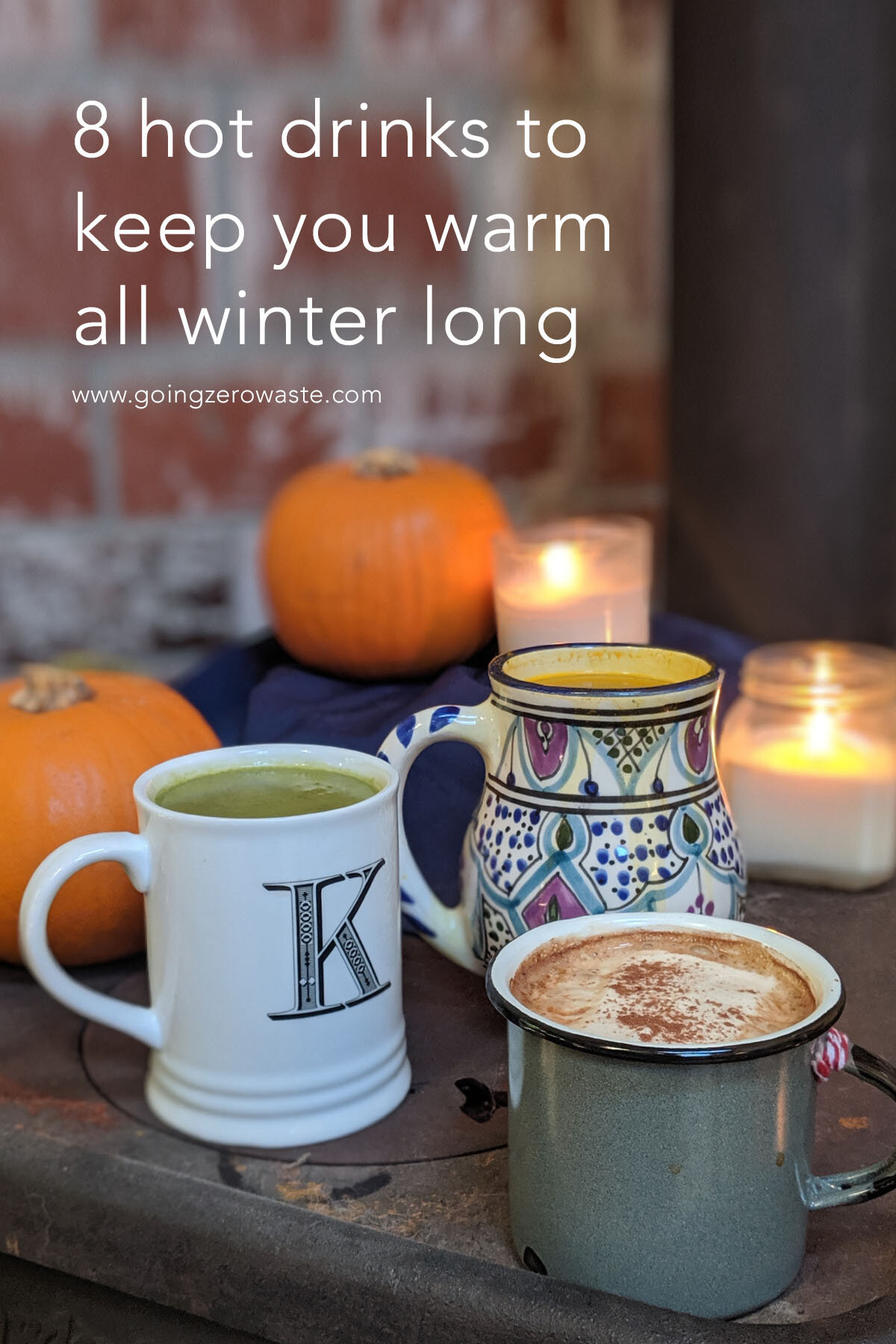 8 Hot drinks perfect for fall from www.goingzerowaste.com #ecofriendly #falldrinks #hotchocolate #pumpkinspice #goldenmilk #matcha #whitechocolatematcha #sustainable #eco #hotdrinks #falldrinks #winterdrinks #holidaydrinks #partydrinks