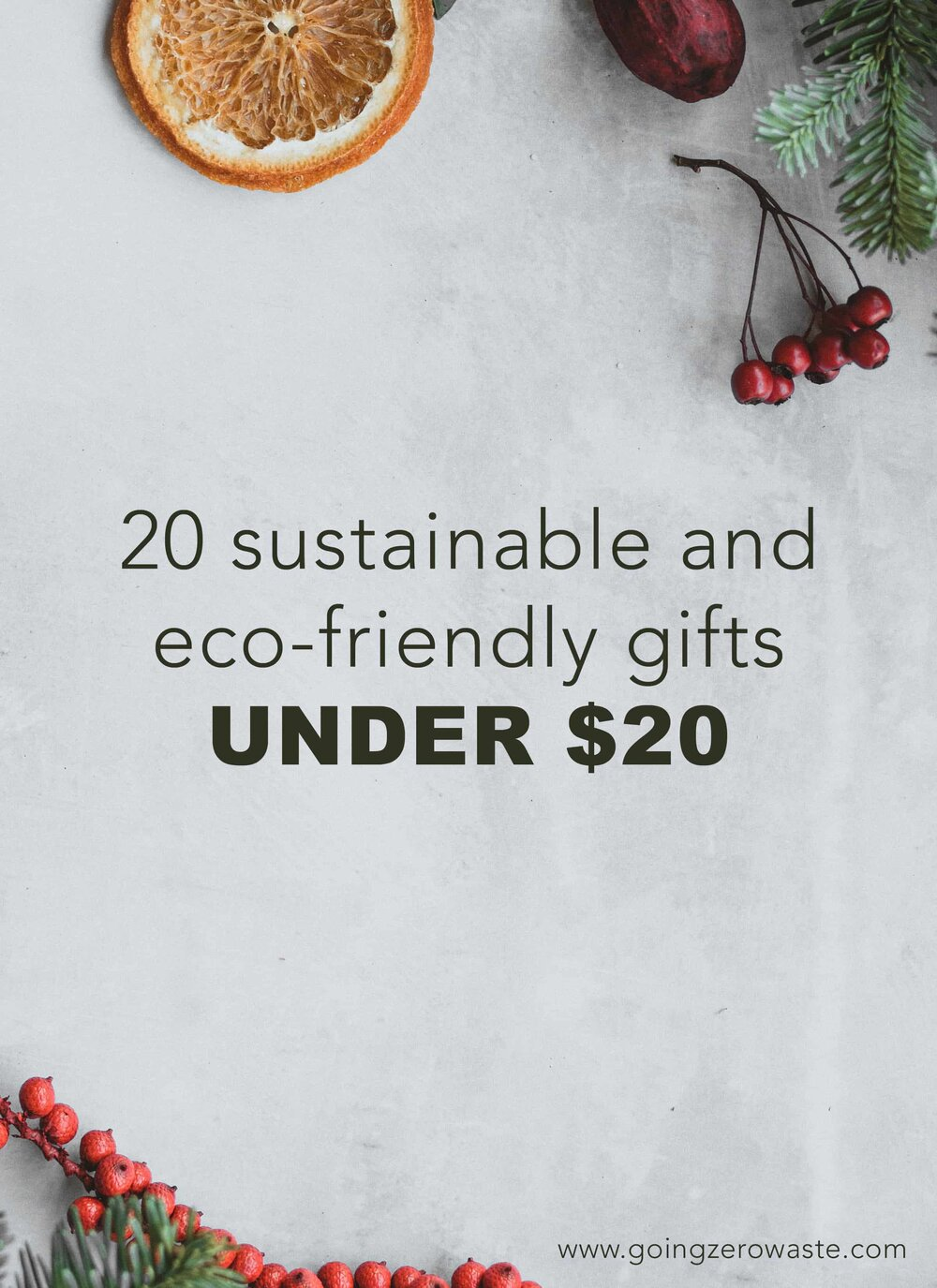 20 Sustainable Gifts under $20 from www.goingzerowaste.com #stockingstuffer #stockingfiller #ecofriendly #sustainable #sustainablegifts #zerowaste #eco #ecogfits #giftguide #sustainablestockings