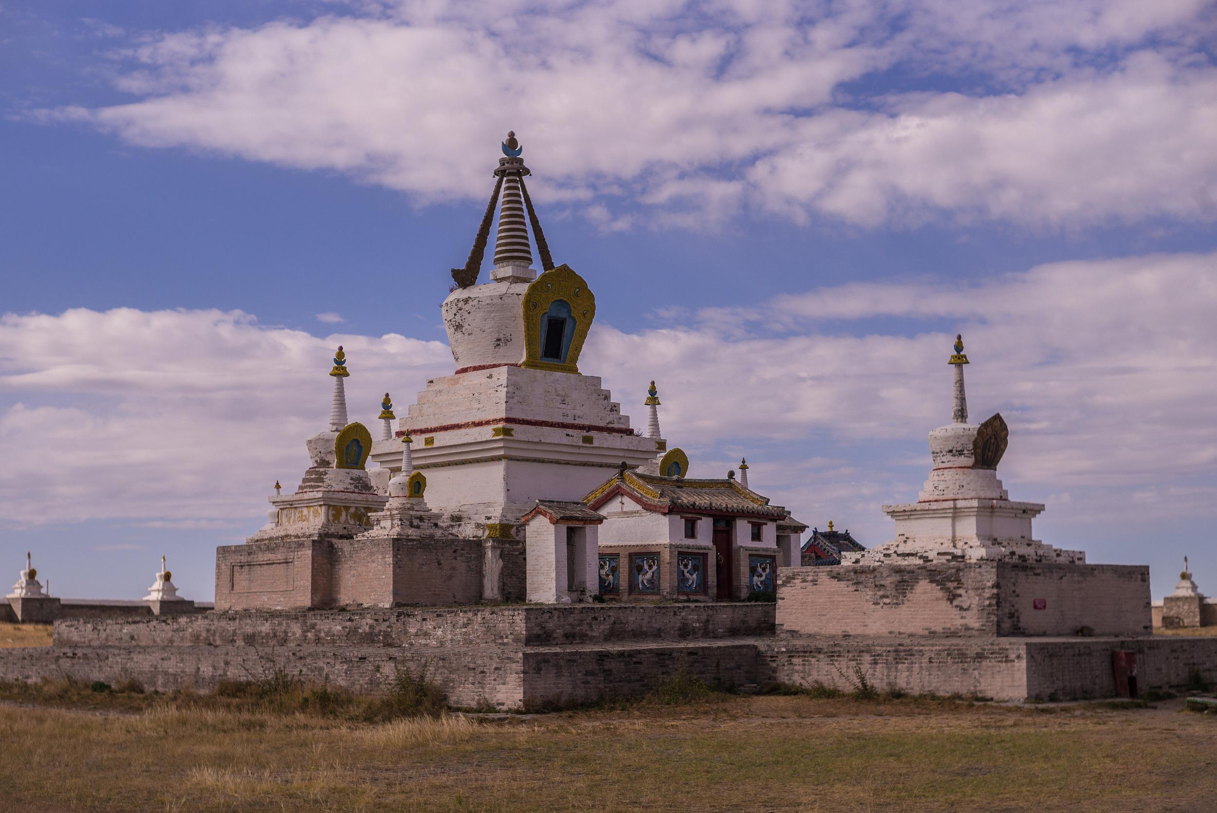Stupas inside monastery walls
