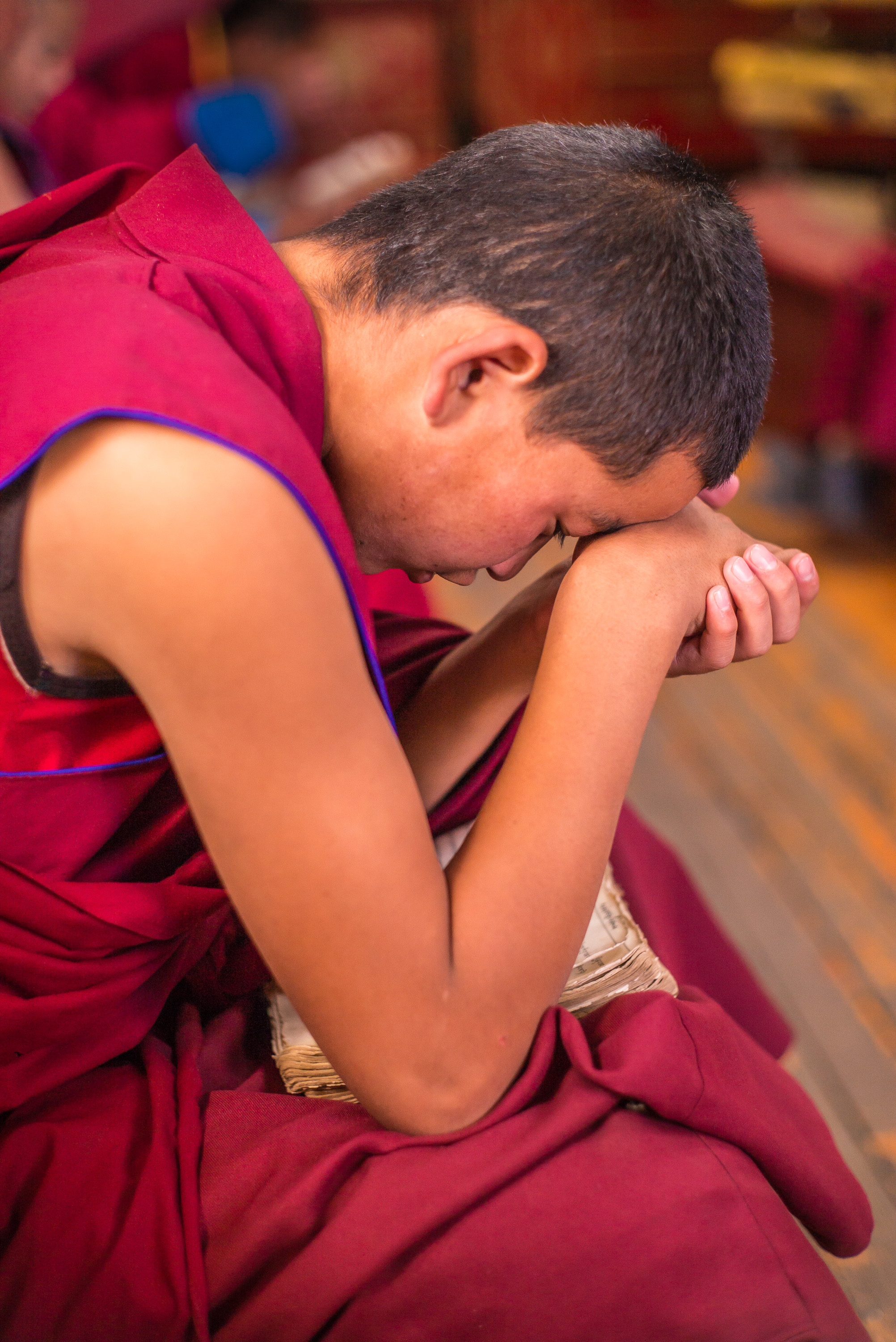 Young monk in meditation