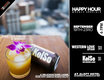 """Happy Hour this week featuring the """"Western Love Affair"""" cocktail,$10 &KelSo Nut brown lager, $6. Each week we feature a new house speciality cocktail & craft beer in addition to weekly specials: $6 Sapporo Draft, $8 Sangria, or house red or white wines, as well as $8 house liquor. Cheers!"""