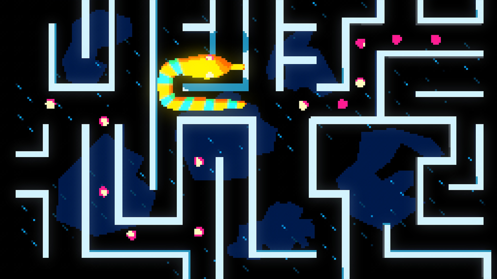 "The lines forms maze walls, 2D, and some elements starts to being formed as a 2D game. We also see a 2D snake travelling through the maze, hunting very slowly all the elements to ""power up"""