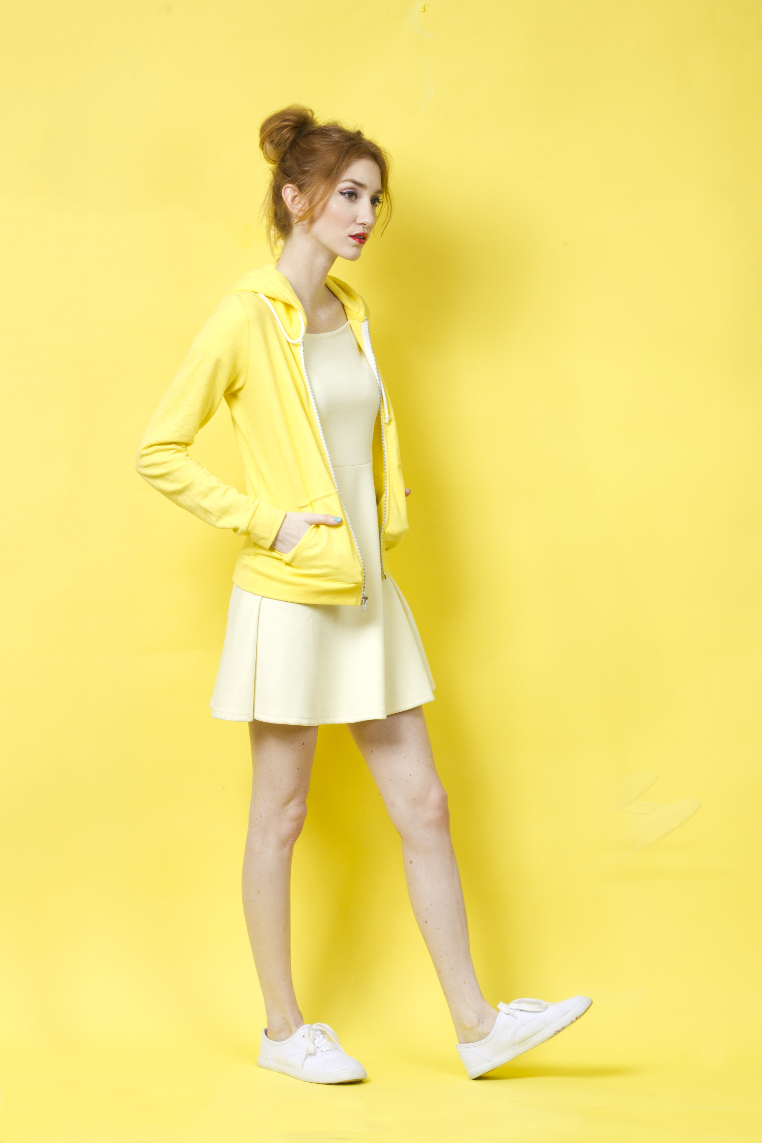 Being a banana is easier than you ever thought! Base your outfit around a soft pastel yellow or light cream/off-white, and top with a bright sunny yellow hoodie or cardigan <3