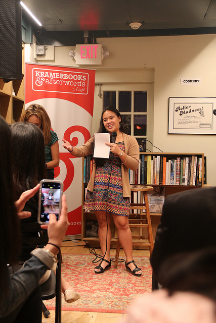 Kristina reading an excerpt from our story  Anatomy of a Filipino Party