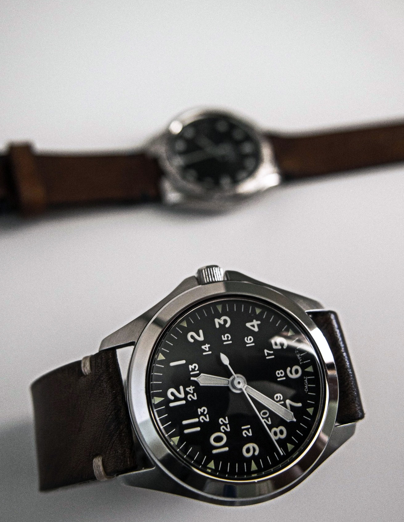 The  Traveling Watch in the foreground with a  Sultan in the back. Both have received custom straps from ASC.