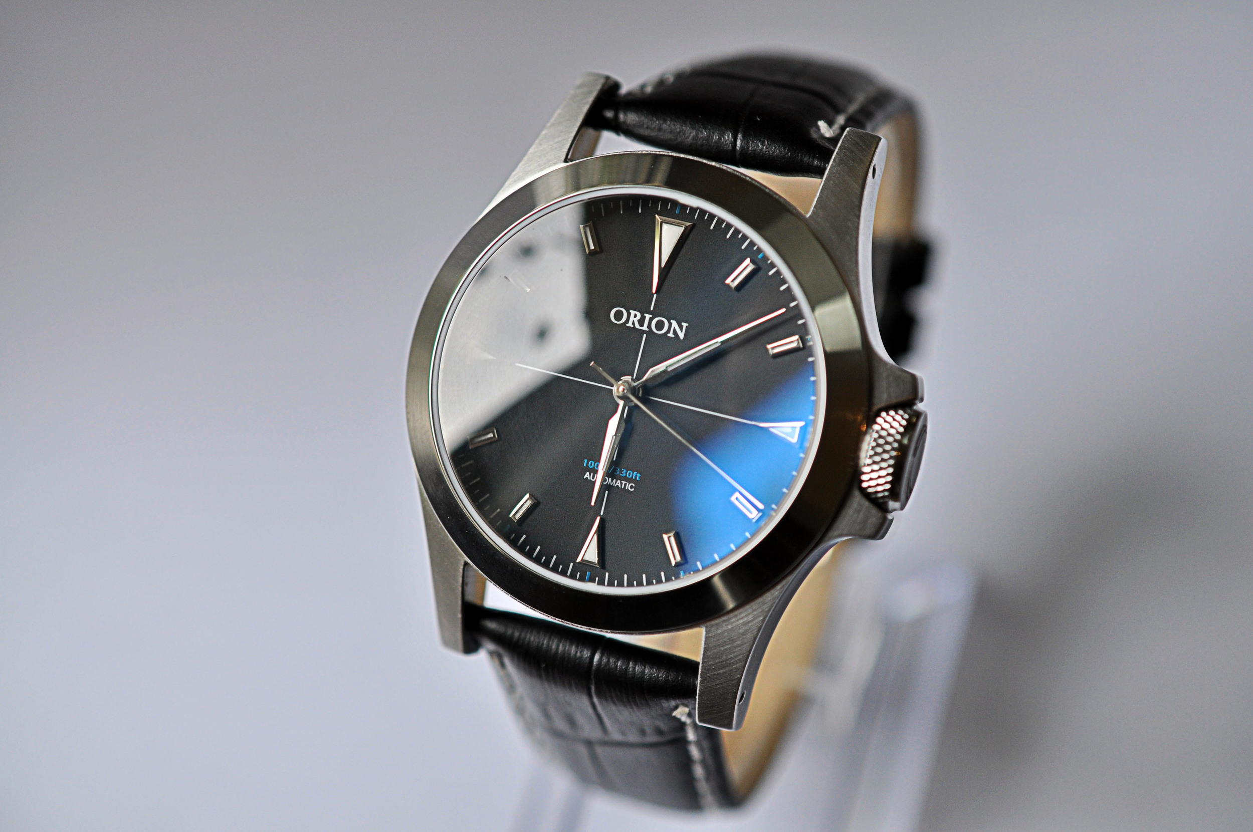 Blue dial variant, every 5 minutes there is a blue minute marker. Strap is a placeholder.