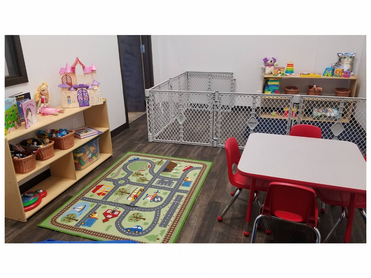 Elevates Child Watch room has age appropriate toys for children ages 6 most to 11 years old.