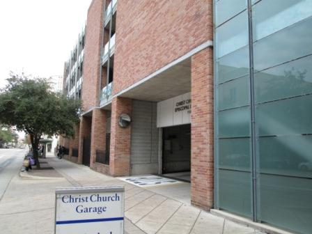 Christ church free parking garage off san jacinto (between texas ave and prairie st)
