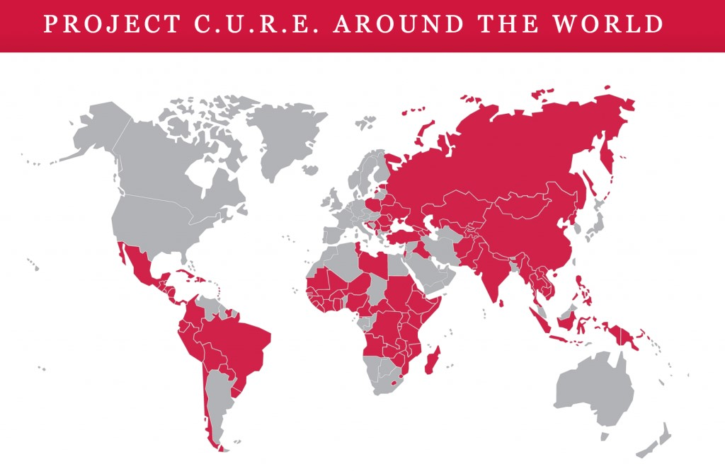 Map of the countries project cure serves