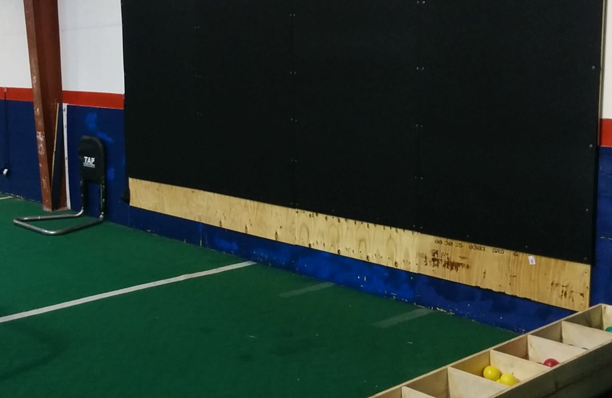 (Left to Right) Our Command Trainer, SCRATCH-BUILT Plyocare Wall, and DRIVELINE BASEBALL PlyoCare Balls