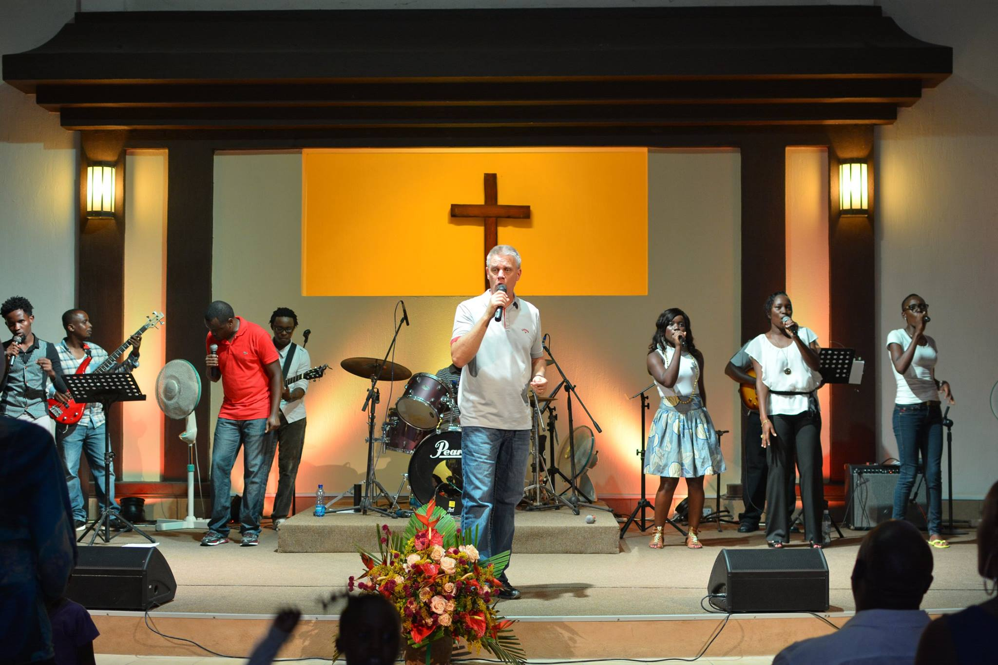 Pastor Jim Horne leading worship at Crossroads Fellowship in Nyali, Kenya.