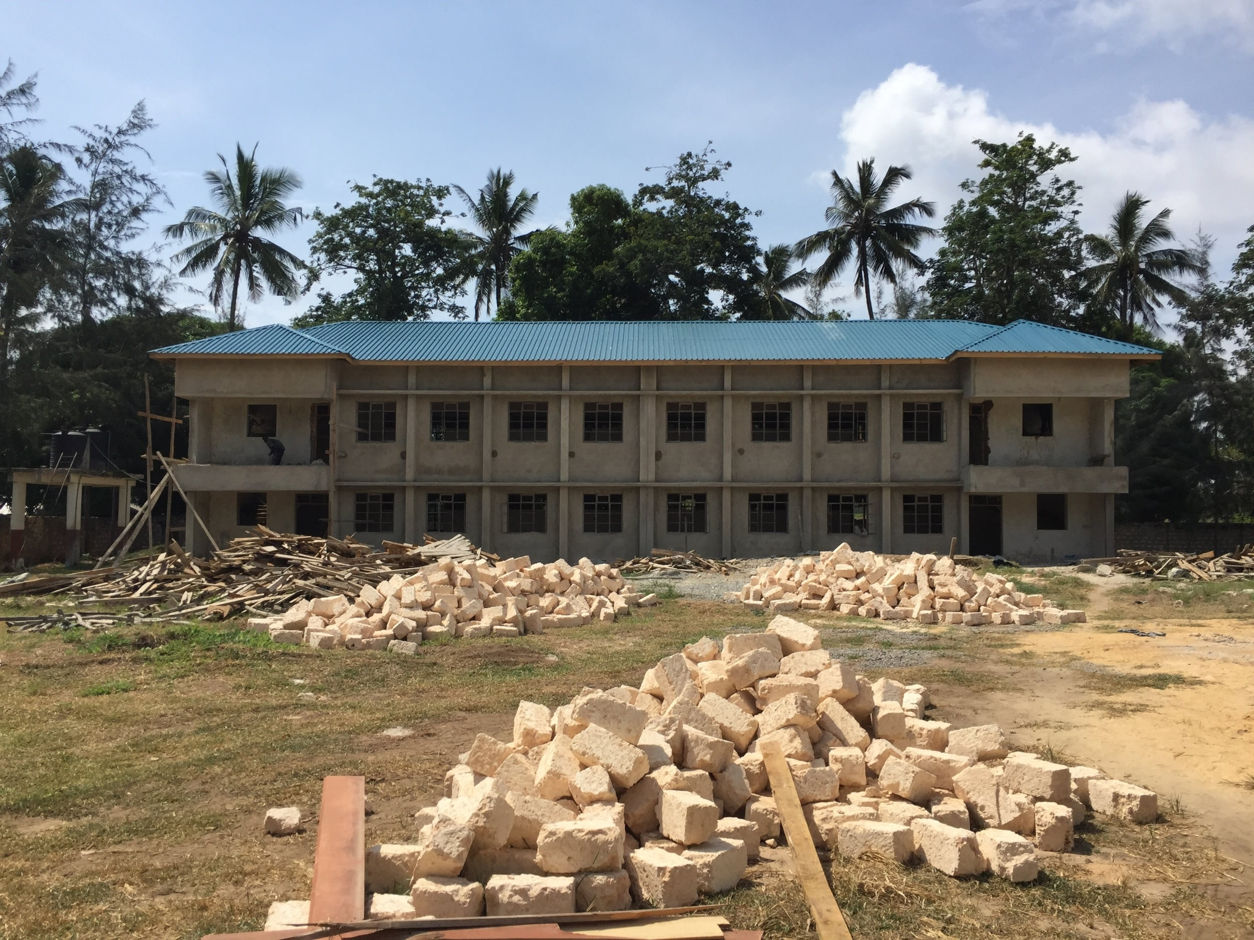 The girls' dormitory (still under construction)