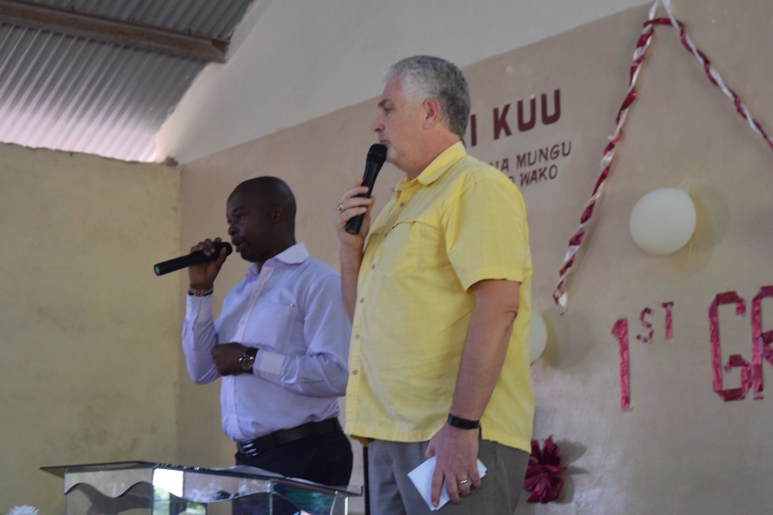 Pastor Mark addresses the students, with Teacher James interpreting for those Kenyans who don't understand English (or southern American accents).