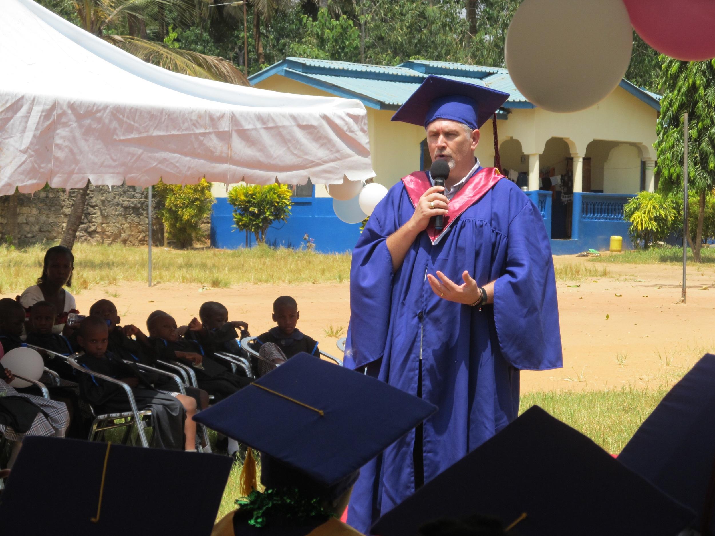 Pastor Mark addresses the graduates
