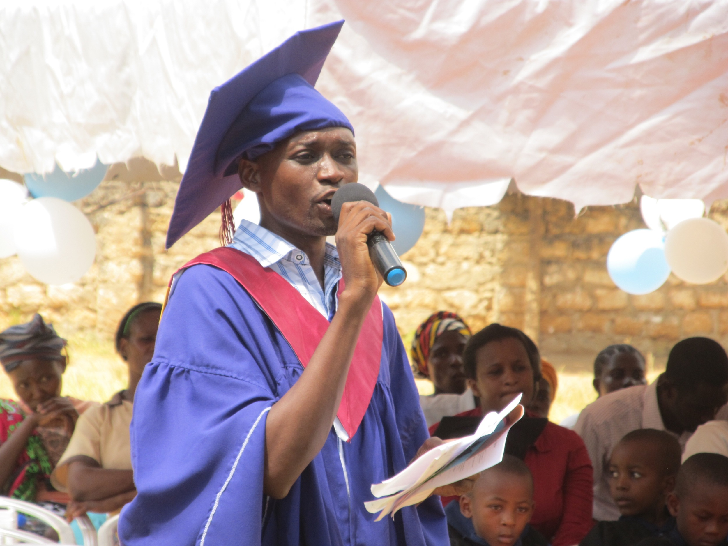 Head Teacher Victor acted as the emcee for the graduation ceremony.