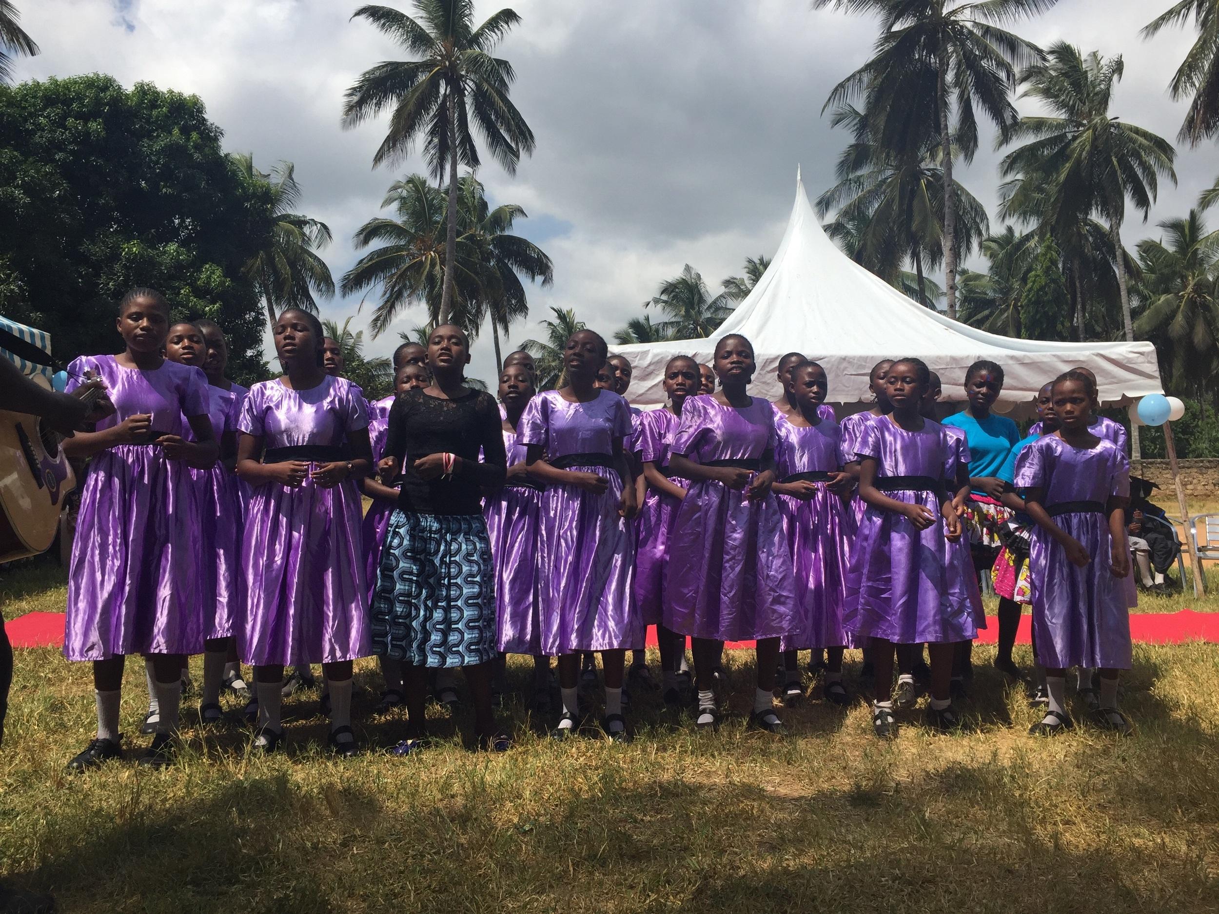 The school choir preformed two songs.