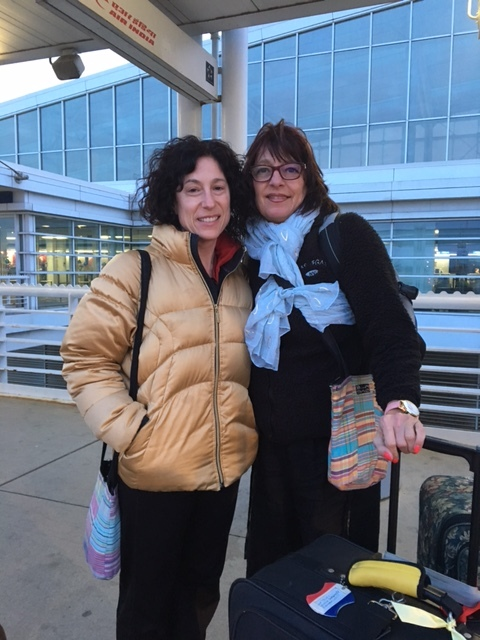 Rosie and Sue as they depart for Kenya.