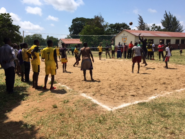 A competitive volleyball tournament.