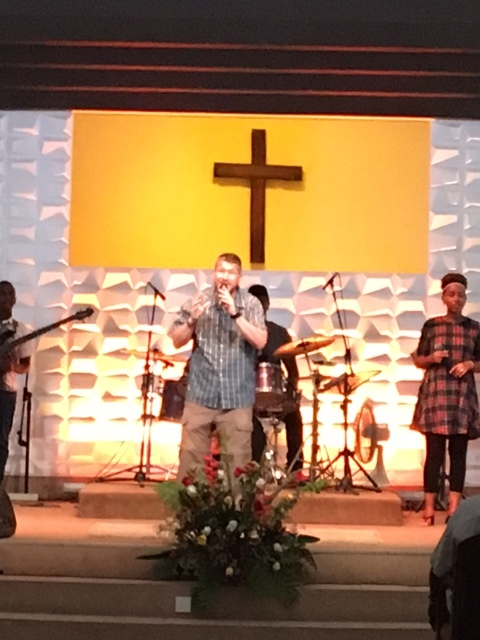 One of our group members was able to join the worship team for this weekend.