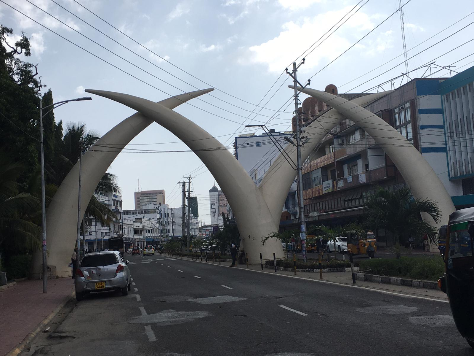 Tusks in downtown Mombasa