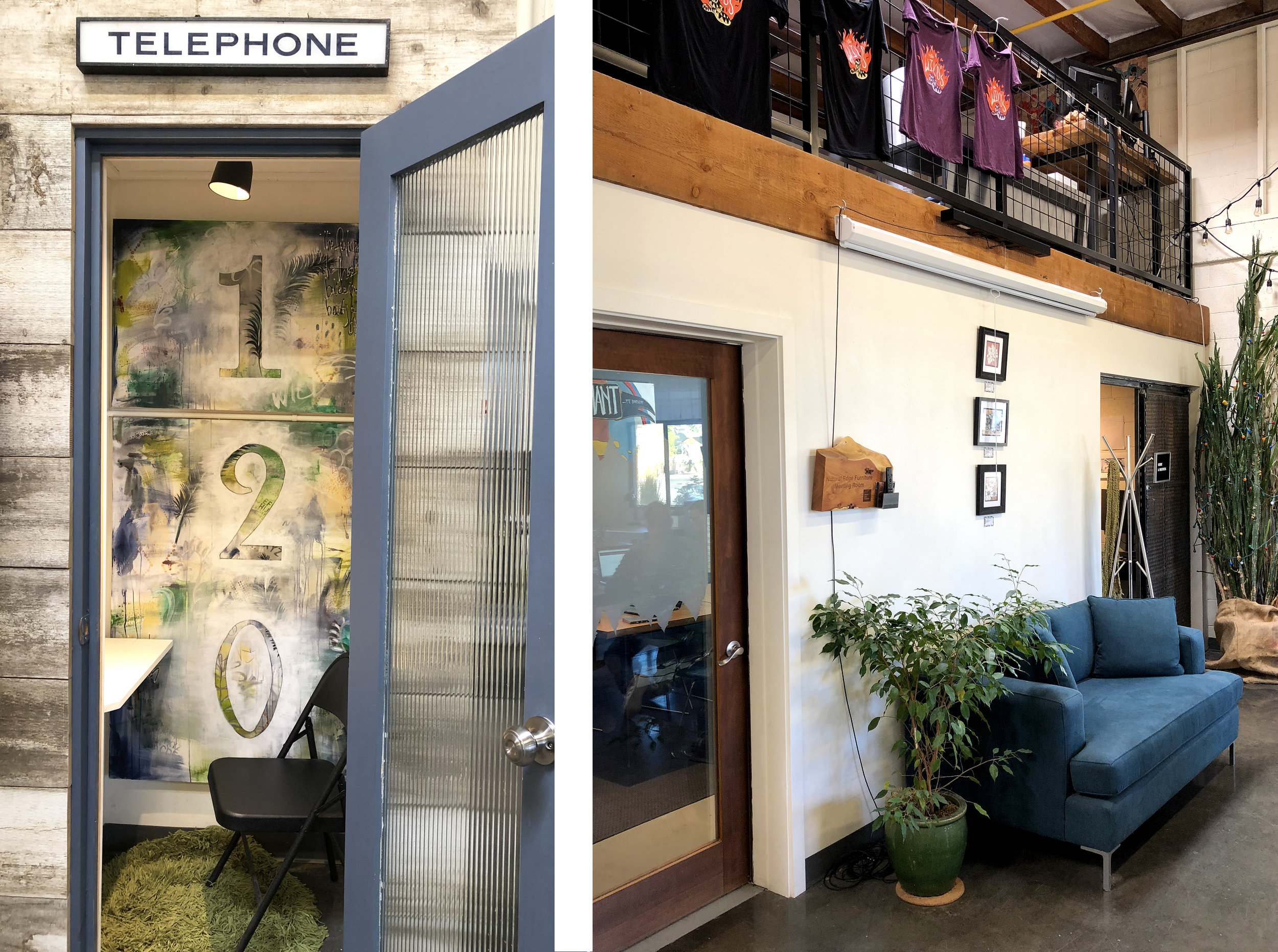 Our phone booth offers auditory privacy during phone calls, and the Meeting Room to the right has a lovely table by  Natural Edge Furniture , here in Bend, Oregon.