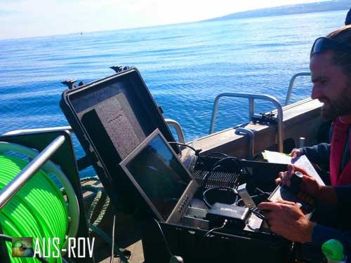ROV Pilot/Tech Adrian Jahnke operating the SeaBotix LBV offshore of Adelaide.