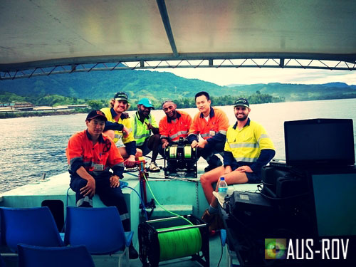 The Deep Sea Pipeline Inspection Team at Basamuk Bay, PNG.