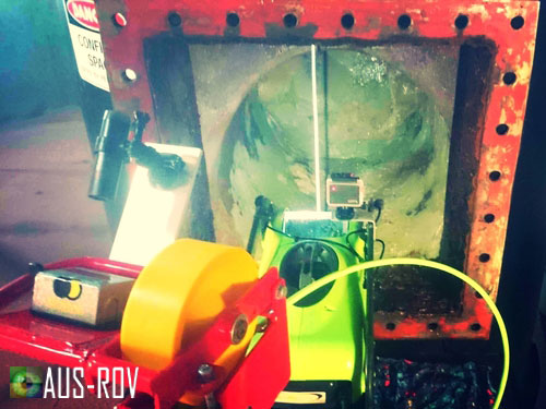 SeaBotix LBV200 ROV ready to inspect valves inside the dam's intake pipeline.