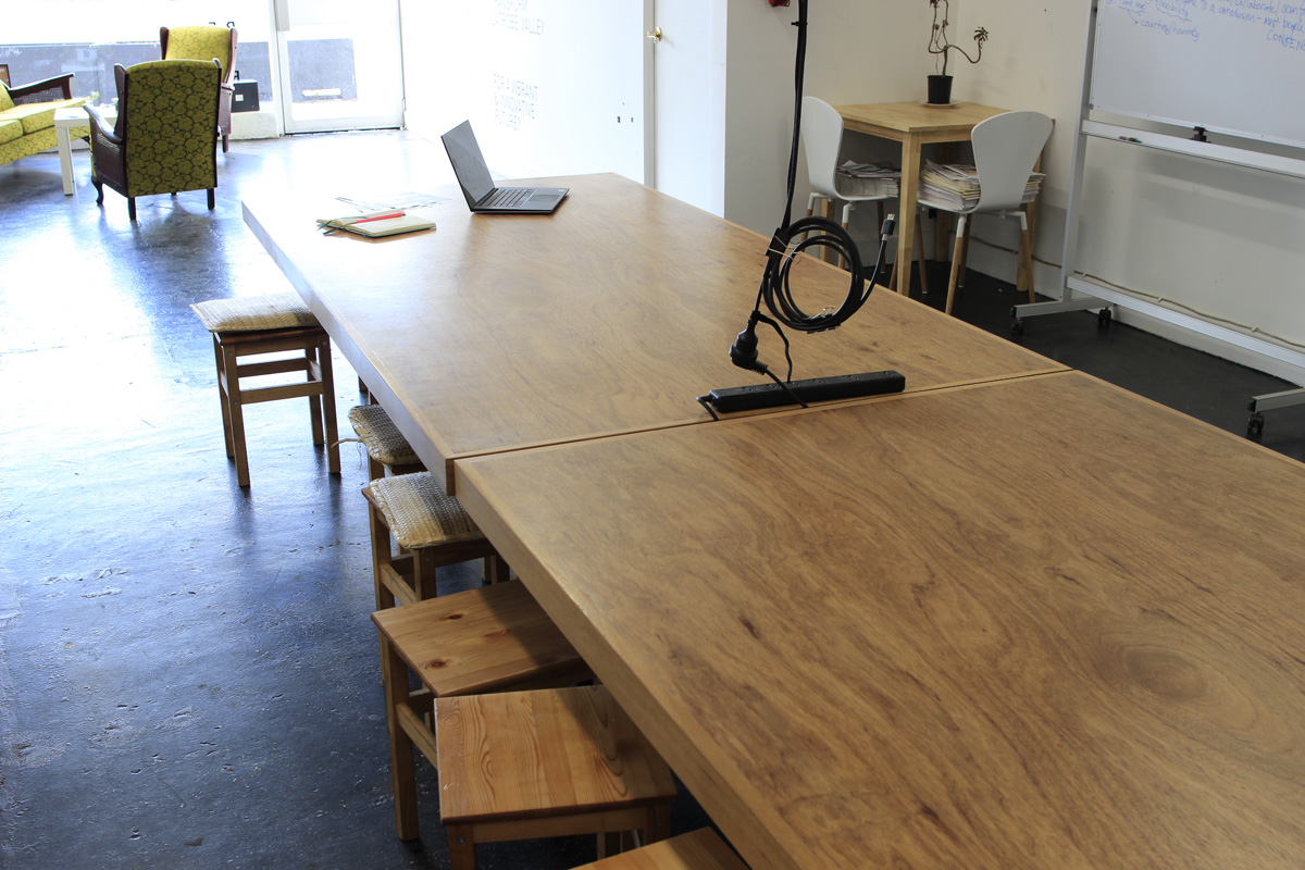 Main Space - Meeting/workshop space(Bookings $30/hour, limited availability)Includes seating for up to 25, data projector, whiteboard. note: access to kitchen requires movement through this space so others using ReActivate Hub may need to move through the space during booking times.