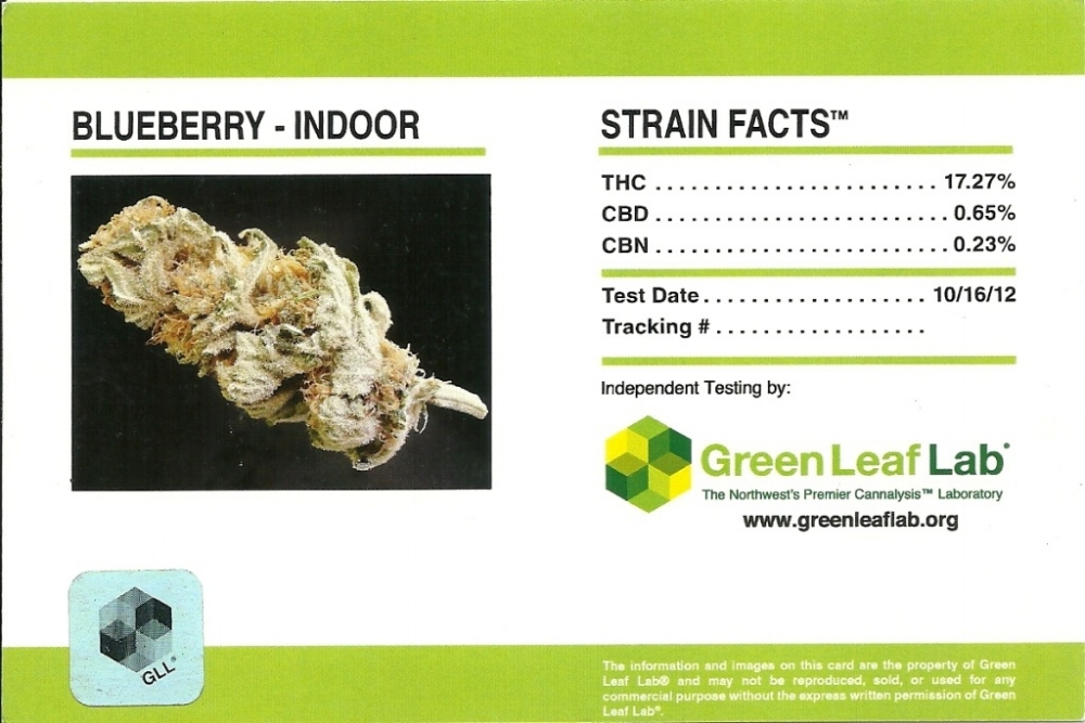Indoor Blueberry Strain Facts Card